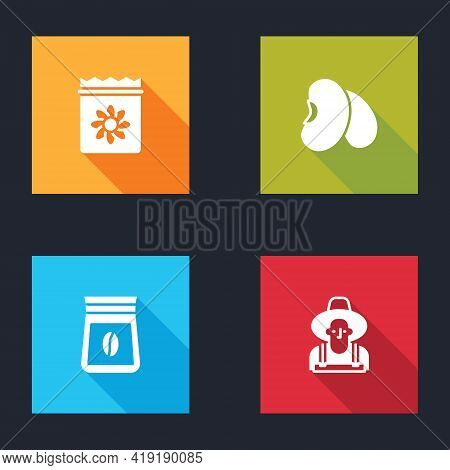 Set Pack Full Of Seeds Of Plant, Beans, Bag Coffee Beans And Farmer In The Hat Icon. Vector