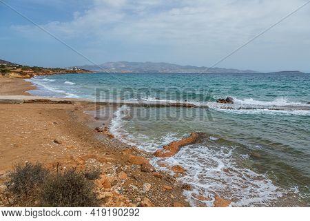 View Of The Sandy Soros Beach On The Coastline Of Antiparos Island. Greece.