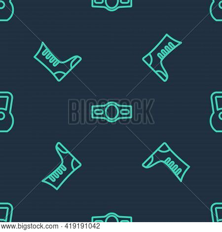 Set Line Boxing Belt, Sport Boxing Shoes And Kettlebell On Seamless Pattern. Vector