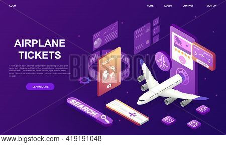 Airline Flight Buying Or Booking Service Advertisement. Smartphone With Airplane, Airport Runway, El