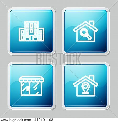 Set Line House, Search House, Market Store And Location With Icon. Vector
