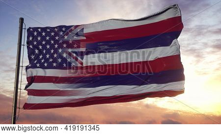 Hawaii And Usa Flag On Flagpole. Usa And Hawaii Mixed Flag Waving In Wind. 3d Rendering