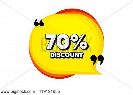 70 Percent Discount. Yellow Speech Bubble Banner With Quotes. Sale Offer Price Sign. Special Offer S