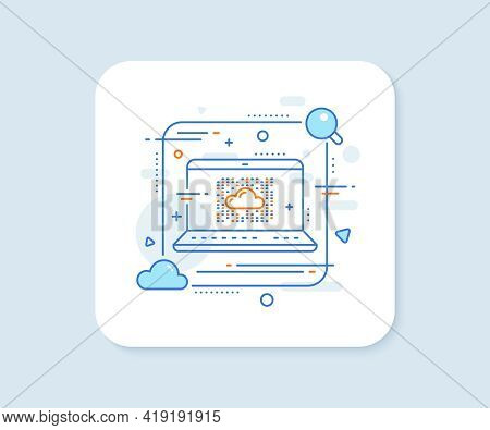 Cloud Computing System Line Icon. Abstract Vector Button. Internet Data Storage Sign. File Hosting T