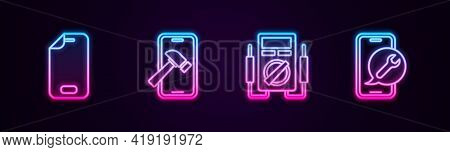 Set Line Glass Screen Protector, Mobile With Broken, Multimeter And Service. Glowing Neon Icon. Vect