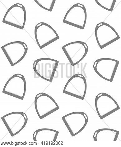 Vector Seamless Pattern Of Flat Horse Equestrian Saddle Stirrup Isolated On White Background