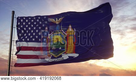 New York And Usa Flag On Flagpole. Usa And New York Mixed Flag Waving In Wind. 3d Rendering