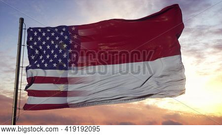 North Carolina And Usa Flag On Flagpole. Usa And North Carolina Mixed Flag Waving In Wind. 3d Render