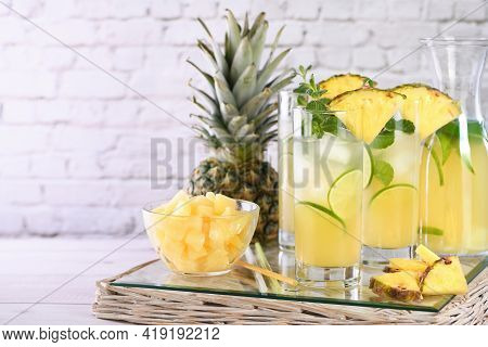 Fresh Lime And Mint Combined With Fresh Pineapple Juice And Tequila. Pineapple Cocktails Always Have