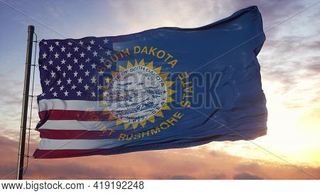 South Dakota And Usa Flag On Flagpole. Usa And South Dakota Mixed Flag Waving In Wind. 3d Rendering