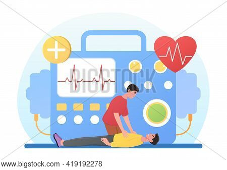 Male Character Is Performing Defibrillation To Critical Patient Lying On Ground. Concept Of Cardiopu