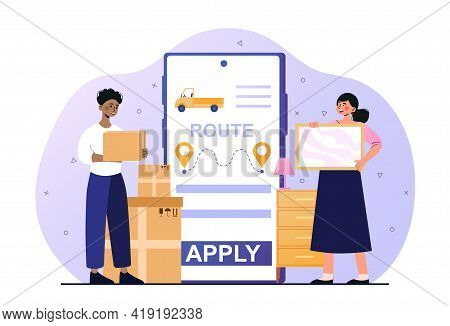 Male And Female Characters Using Ctc Application On Smartphone. Concept Of Forwarder Online Transpor