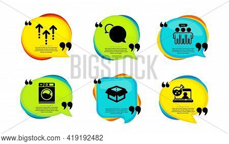 Swipe Up, Employees Group And Messenger Icons Simple Set. Speech Bubble With Quotes. Washing Machine