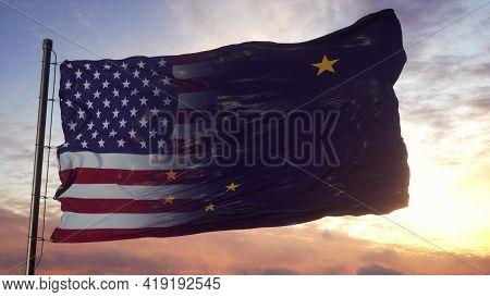 Alaska And Usa Flag On Flagpole. Usa And Alaska Mixed Flag Waving In Wind. 3d Rendering