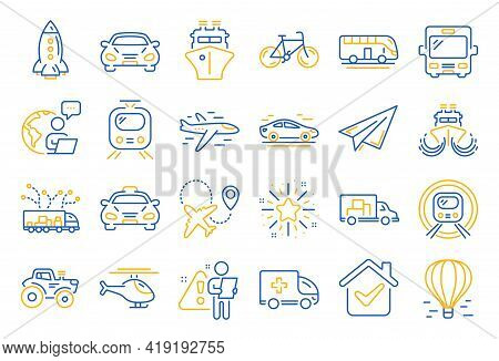 Transport Line Icons. Taxi, Helicopter And Subway Train Icons. Truck Car, Tram And Air Balloon Trans