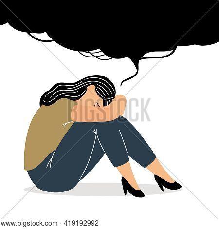Girl With Sad Thoughts. Cartoon Melancholic Gloomy Woman With Sad Feeling In Adolescence, Vector Ill