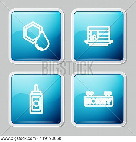 Set Line Honeycomb, Stack Of Pancakes, Jar Honey And Hanging Sign With Honeycomb Icon. Vector