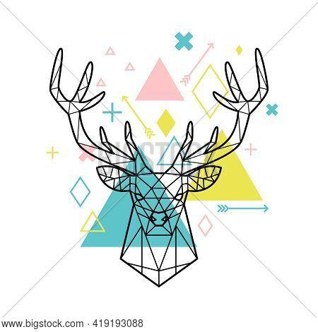 Geometric Head Of Deer. Cartoon Artwork Of Polygonal Abstract Animal Figure, Vector Illustration For