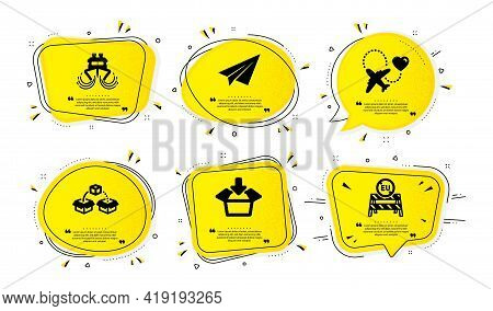 Honeymoon Travel, Get Box And Paper Plane Icons Simple Set. Yellow Speech Bubbles With Dotwork Effec