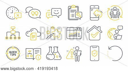 Set Of Technology Icons, Such As Technical Algorithm, Restructuring, Spanner Symbols. Time, Teamwork
