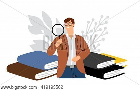 Scientist Character. Male Searching, Looking Through Magnifying Glass. Man Look Perspectives, Studen