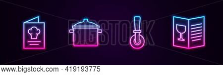 Set Line Cookbook, Cooking Pot, Pizza Knife And Restaurant Cafe Menu. Glowing Neon Icon. Vector