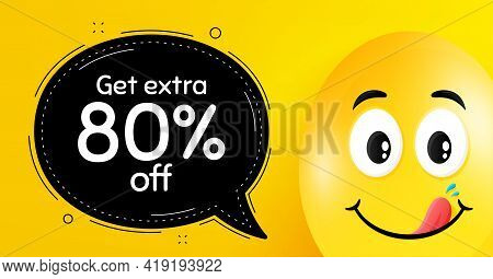 Get Extra 80 Percent Off Sale. Easter Egg With Yummy Smile Face. Discount Offer Price Sign. Special