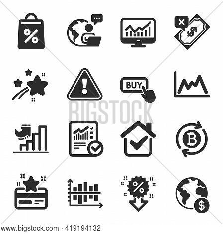 Set Of Finance Icons, Such As Rejected Payment, Refresh Bitcoin, Statistics Symbols. Discount, Check