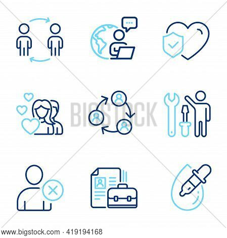 People Icons Set. Included Icon As Teamwork, Life Insurance, Couple Signs. Eye Drops, Workflow, Repa