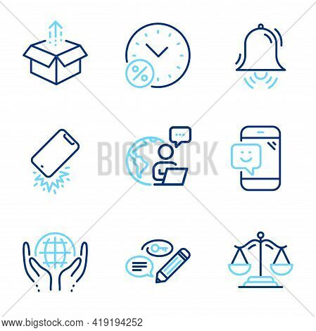 Business Icons Set. Included Icon As Clock Bell, Send Box, Keywords Signs. Smartphone Broken, Loan P