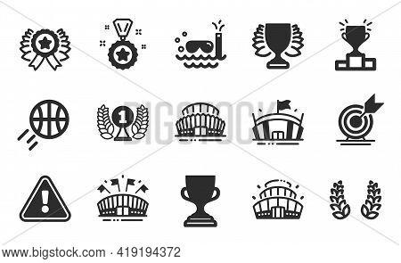 Winner Podium, Sports Arena And Laurel Wreath Icons Simple Set. Winner Ribbon, Target Goal And Arena