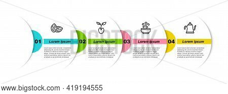Set Line Seed, Sprout, Seeds In Bowl And Watering Can. Business Infographic Template. Vector