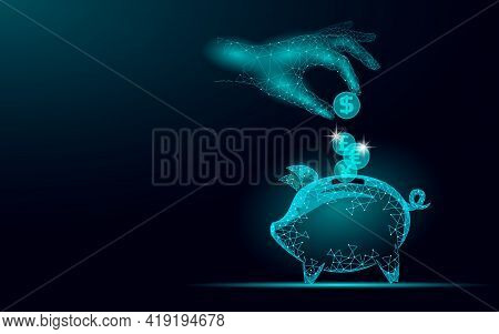Piggy Bank Web Online Payment. Money Box Pig Information Dollar Euro Coin Exchange Technology. Blue