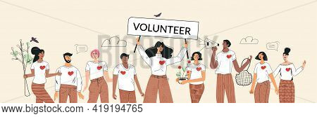 Green Volunteers And Volunteering Concept. Set Of Diverse People Save Ecology Environment. Zero Wast