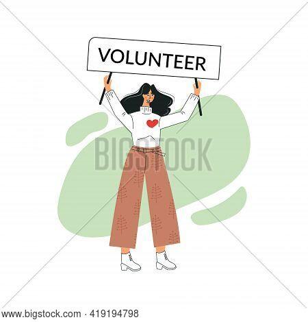 Green Volunteer And Volunteering Concept. Young Girl Altruistic Activist. Enthusiastic Female Millen