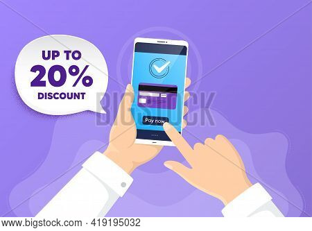 Up To 20 Percent Discount. Pay By Card From Phone. Sale Offer Price Sign. Special Offer Symbol. Save