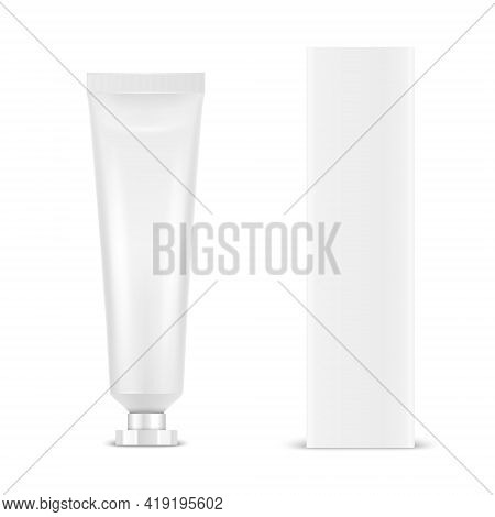 Vector 3d Realistic Plastic, Metal White Tooth Paste, Cream Tube, Carton Packing Isolated On White B
