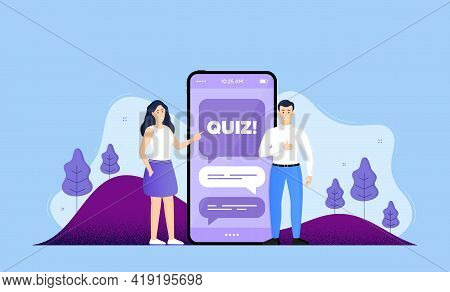 Quiz Symbol. Phone Online Chatting Banner. Answer Question Sign. Examination Test. Quiz Chat Bubble.
