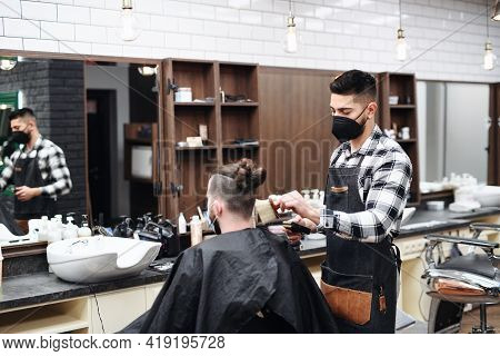 Man Client Visiting Haidresser In Barber Shop, Coronavirus And New Normal Concept.