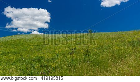 Panoramic Landscape  With Native Grasses In Hilly Pasture Near Dnipro City In Ukraine