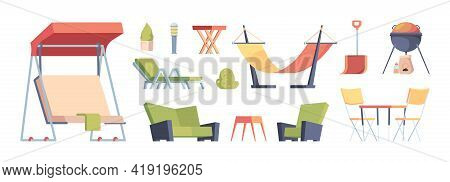Outdoor Decoration. Garden Exterior Furniture Sitting Sofa Chairs Table Swing For Bbq Time Relax Lif