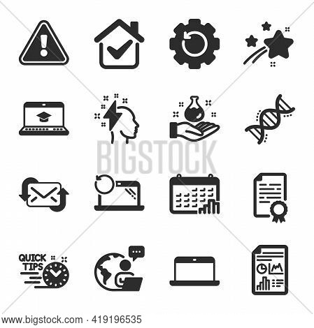 Set Of Education Icons, Such As Website Education, Laptop, Certificate Diploma Symbols. Report Docum