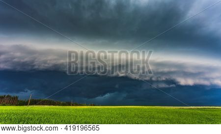 Storm Clouds In Sunset Light, Dramatic Storm Clouds