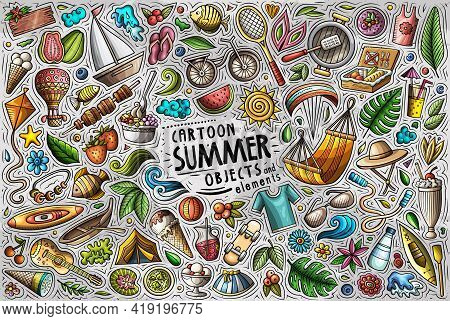 Vector Doodle Cartoon Set Of Summer Theme Objects And Symbols