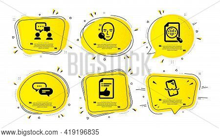 Face Search, Approved Document And Dots Message Icons Simple Set. Yellow Speech Bubbles With Dotwork