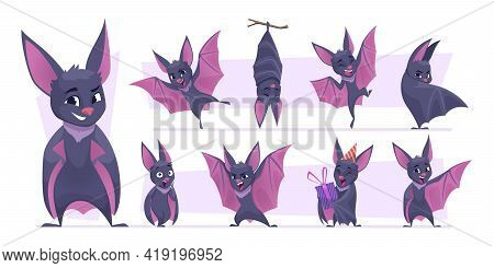 Flying Bat. Cartoon Wild Vampire Scary Mammals Mouse Mascot With Wings Exact Vector Pictures Collect
