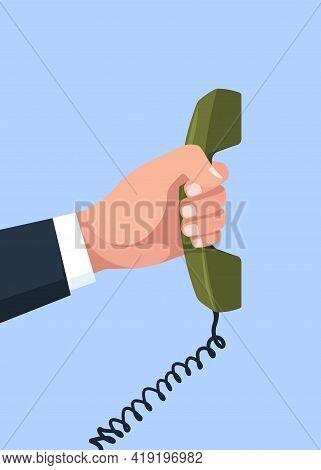 Telephone In Hand. Arm Holding Handset Telecommunication Technologies Phone Talking Concept Garish V