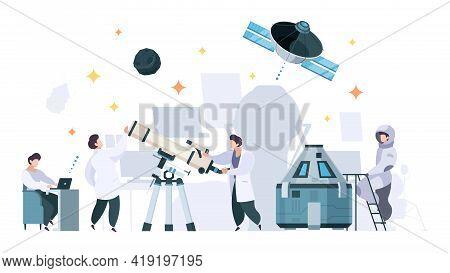 Planetarium Characters. Scientific Space Research Exploring Universe Planets In Telescope Garish Vec
