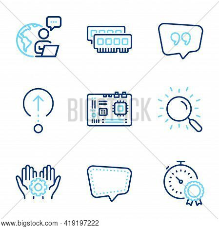 Technology Icons Set. Included Icon As Chat Message, Motherboard, Best Result Signs. Search, Employe