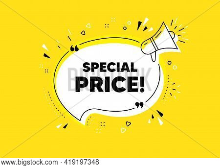 Special Price Symbol. Megaphone Yellow Vector Banner. Sale Sign. Advertising Discounts Symbol. Thoug